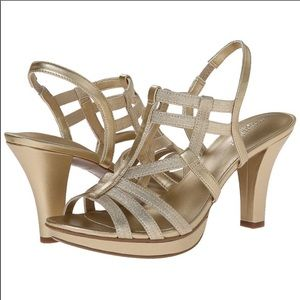 Naturalizer Darcy gold sandals wide width